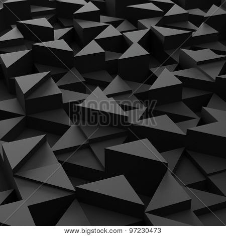 background of 3d black triangle blocks