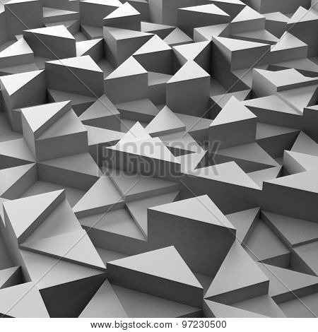 background of 3d white triangle blocks