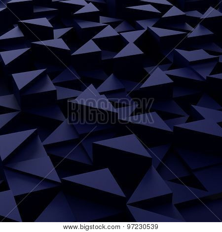 background of 3d blue triangle blocks