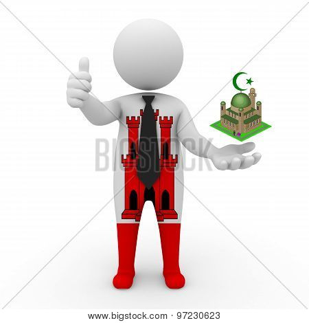 3d businessman people Gibraltar - Muslim mosque and Islam in Gibraltar