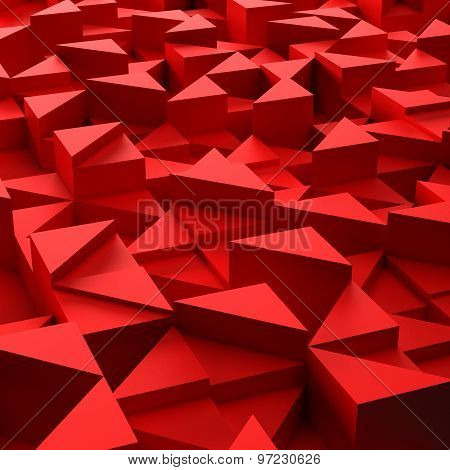 background of 3d red triangle blocks