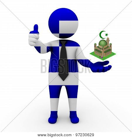 3d businessman people Greece - Muslim mosque and Islam in Greece