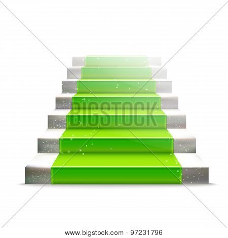 Stone Ladder With Green Carpet