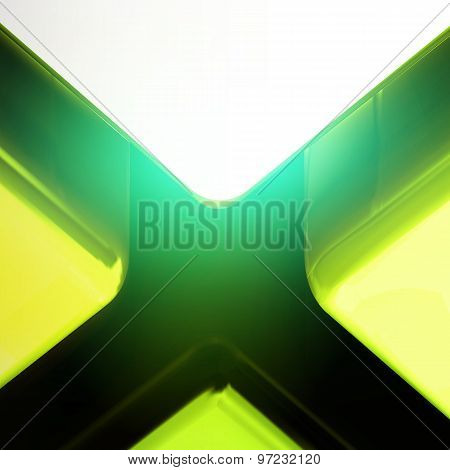 Green Color Big Lighting Cross Crack Abstract Background