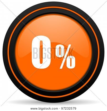 0 percent orange icon sale sign