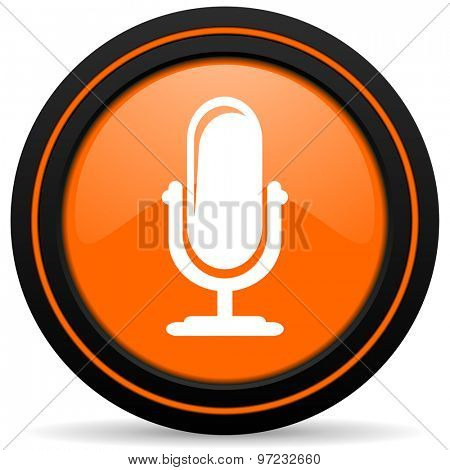 microphone orange icon podcast sign