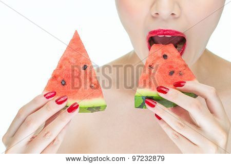 Woman Enjoy Eating Watermelon With Red Lips, Greedy, Bite