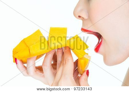 Woman Eating Mango, Sexy, Healthy, Lipstick, Desire, Bite