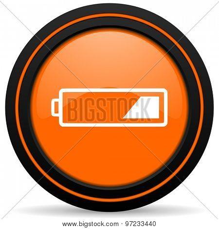 battery orange icon charging symbol power sign
