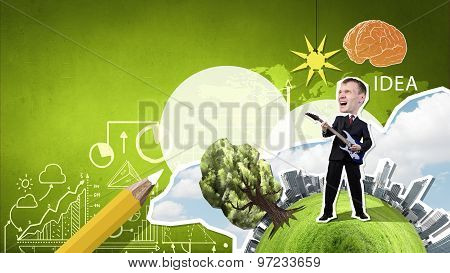 Businessman play guitar