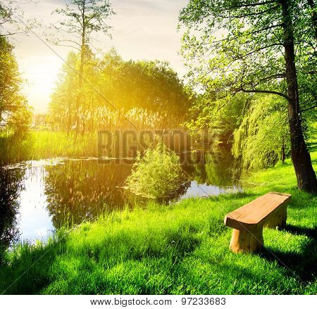 Bench near river