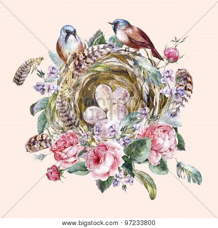 Classical watercolor floral vintage greeting card with rose birds nests and feathers