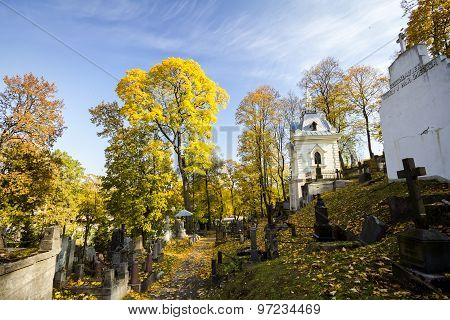 Famous Old Rasu Cemetery In Vilnius, Lithuania
