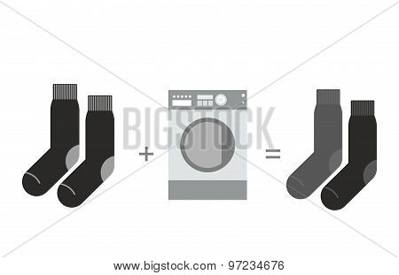 Black Socks And A Washing Machine. Shades Of Gray, Different Socks After Washing. Vector Illustratio