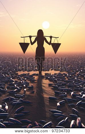 Silhouette of a woman in a sea of garbage.
