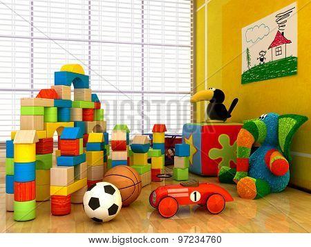 Children's toys inside the room.
