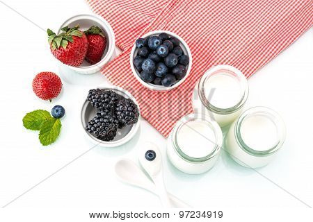 Healthy Breakfast With Yogurt And Berry, Dieting, Picnic