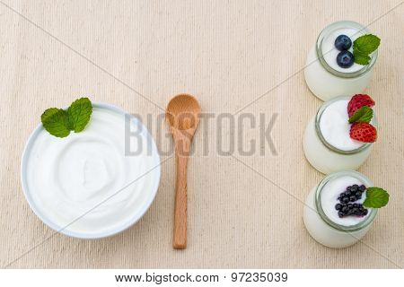 Healthy Breakfast With Yogurt And Berry, Dieting, Placemat