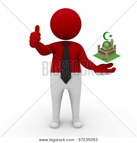 3d businessman people Monaco - Muslim mosque and Islam in Monaco