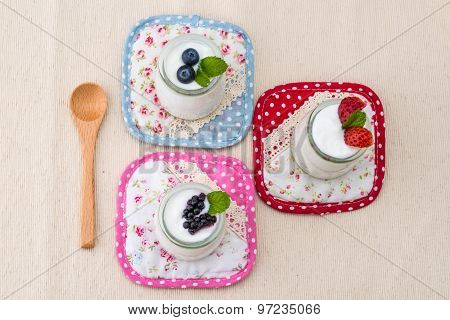 Healthy Breakfast With Yogurt And Berry, Dieting, Rustic Style