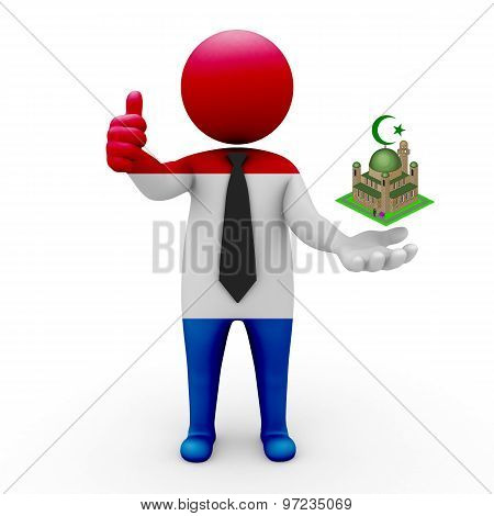 3d businessman people Netherlands - Muslim mosque and Islam in Netherlands