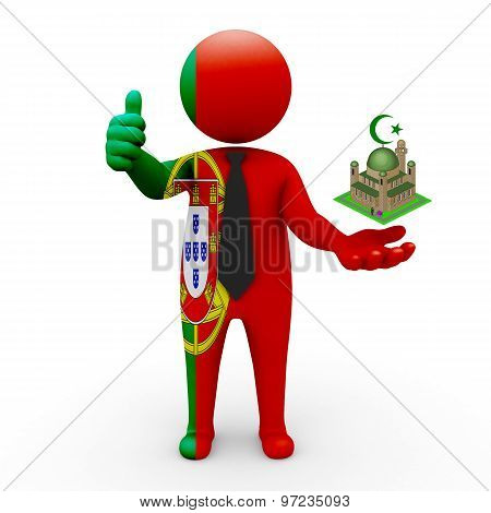 3d businessman people Portugal - Muslim mosque and Islam in Portugal