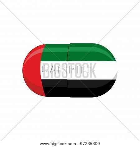 Uae Patriotic Pill. United Arab Emirates Capsule Flag. Vector Illustration Medical Tablet