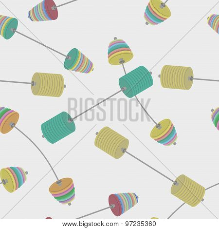 Sports Seamless Background From A Barbell. Vector Pattern For Bodybuilding And Powerlifting