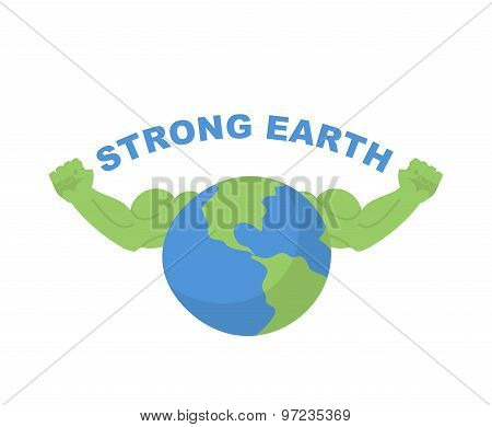 Strong Earth. Planet Bodybuilder With Huge Muscles. Vector Illustration For Earth Day.