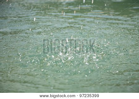 Image drops on turquoise surface of water