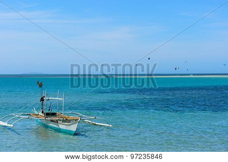 Fishing boats near the shore. Cuyo Island.