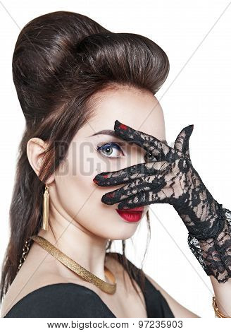 Portrait Of Young Beautiful Woman Wearing Lacy Gloves Isolated