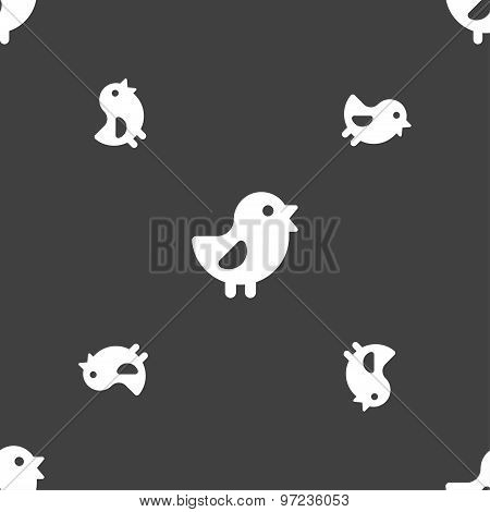Chicken, Bird Icon Sign. Seamless Pattern On A Gray Background. Vector