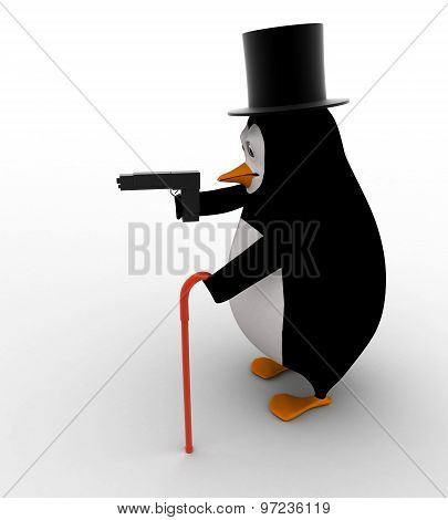 3D Penguin English Gentleman With Stick And Gun Concept