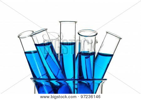 Test Tubes Blue Liquid, Laboratory Glassware
