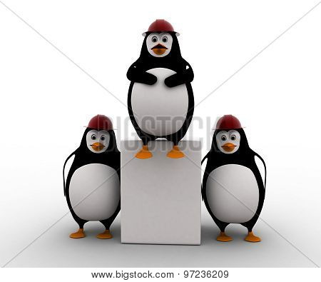 3D Three Penguins Civil Construction Engineer Working As Team Concept