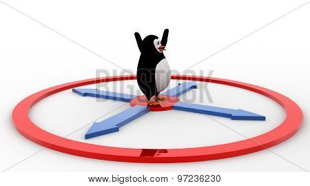 3D Penguin Standing On Center Of Arrow In All Directions Concept