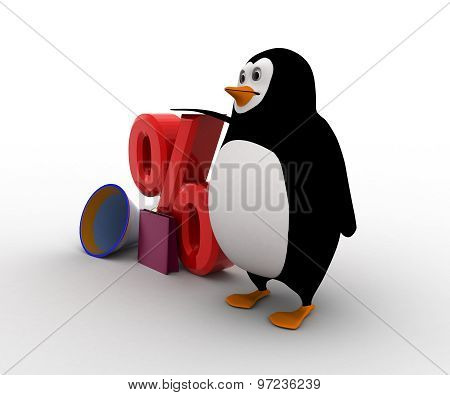 3D Penguin With Percentage Dicount On Shopping With Speaker Concept