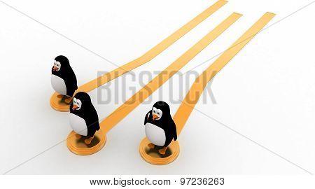 3D Penguin On Golden Path Concept