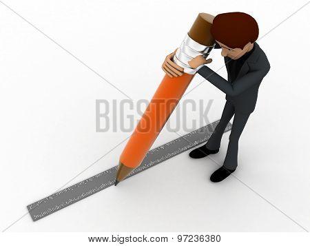3D Man Drawing Line Using Pencil Concept