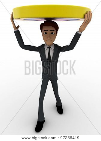 3D Man Carry Yellow Target On Head Concept