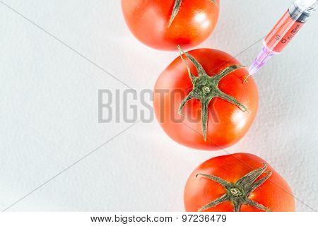 Genetic Modification Red Tomato Laboratory Glassware On White