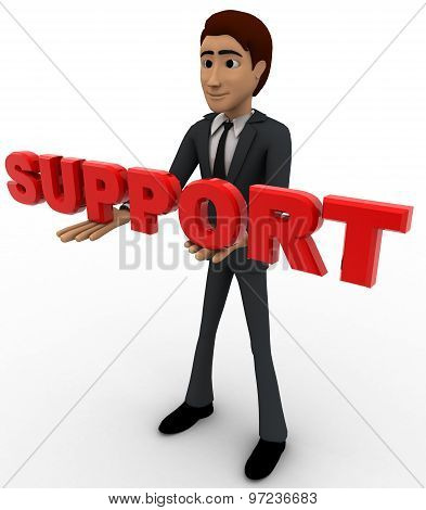 3D Man With Support Text In Hand Concept