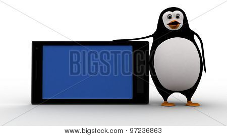 3D Penguin With Smartphone Concept