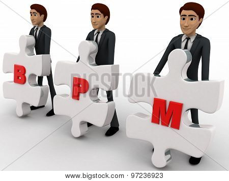 3D Man With Bpm Written On Puzzle Pieces Concept