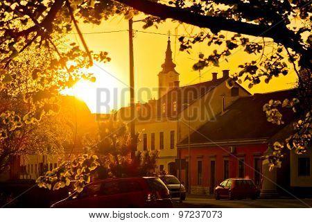 Eastern European Town Of Krizevci Golden Sunset