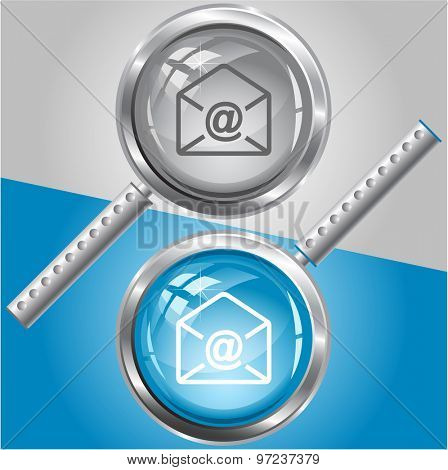 mail at-sign. Vector magnifying glass.