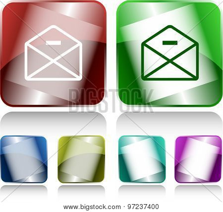 mail minus. Internet buttons. Vector illustration.