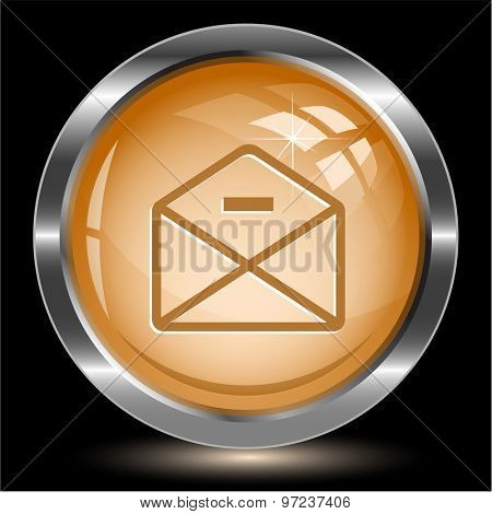 mail minus. Internet button. Vector illustration.