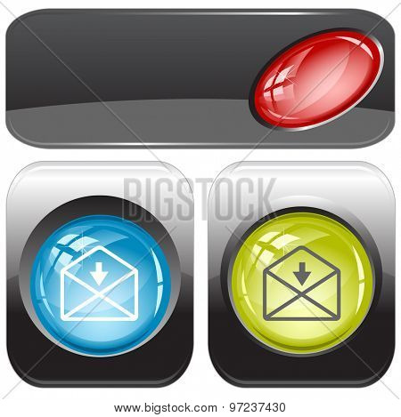 mail downarrow. Vector internet buttons.